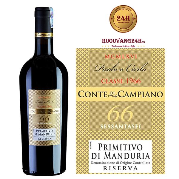 Rượu Vang 66 Paolo E Carlo Primitivo Di Manduria Riserva