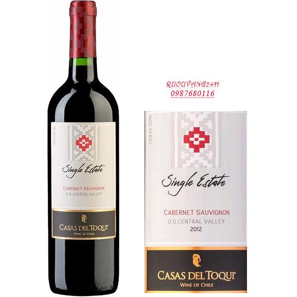 Rượu vang Casas Del Toqui single estate Cabernet Sauvignon