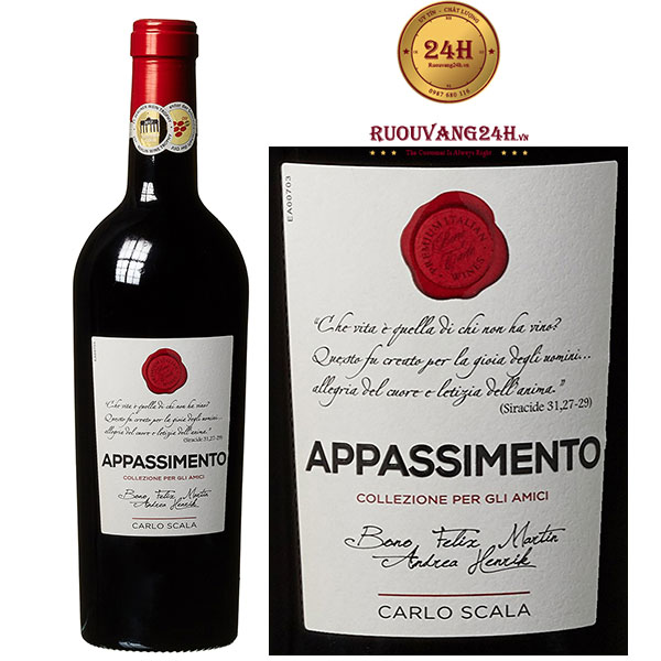 Rượu vang Carlo Scala Appassimento Negroamaro Passito Salento