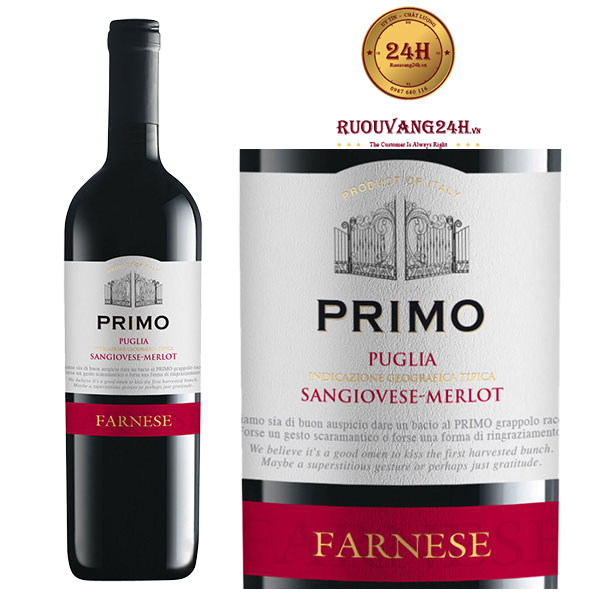 Rượu Vang Primo Puglia Sangiovese Merlot