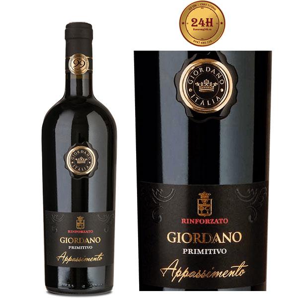 Rượu vang Rinforzato Giordano Appassimento Primitivo