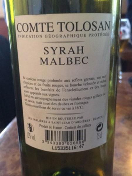 Rượu Vang Comte Tolosan Syrah Malbec