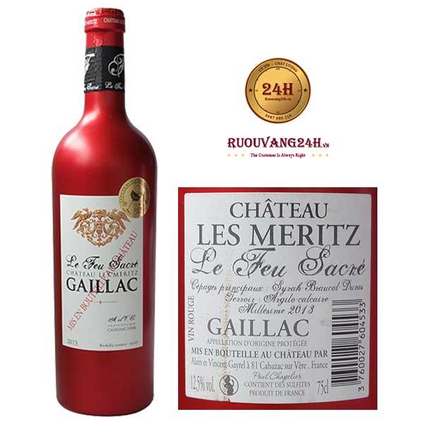 Rượu vang Château Les Meritz Le Feu Sacré Gaillac
