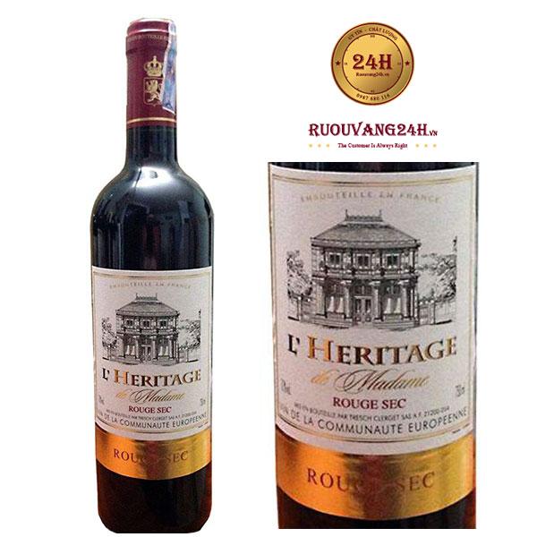 Rượu Vang L'Heritage Rouge Sec