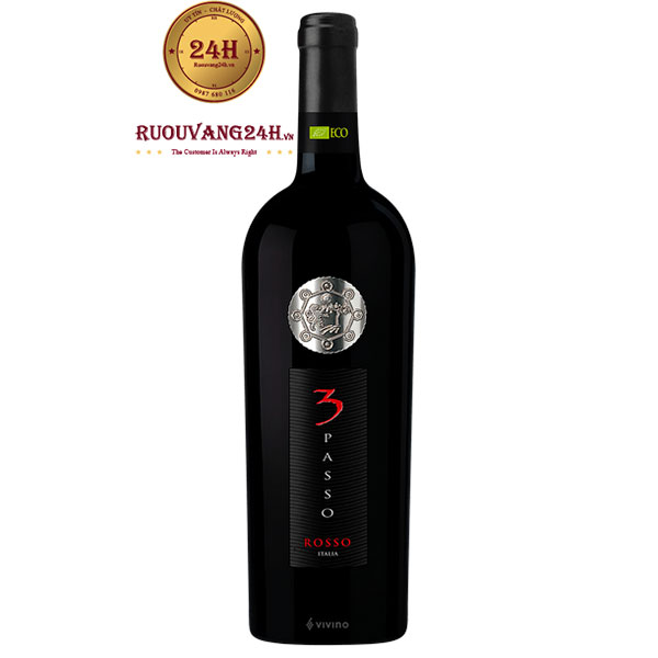 Rượu Vang 3 Passo Rosso Bio Organic wine